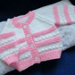 "14"" White & Pink Newborn Cardigan"