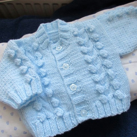"14"" Baby Boys Cable & Bobbles Round Neck Cardigan"