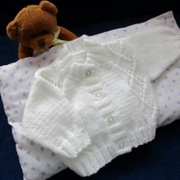 "14"" Newborn Diamond Panel Cardigan"