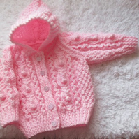"16"" Pink Aran Jacket with Hood"