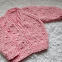 "16"" Baby Girls Candy Pink Knots V Neck Cardigan"