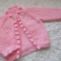 "14"" Newborn One Button Bobble Edge Cardigan"