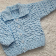 "16"" Baby Boys Blue Cardigan with collar"