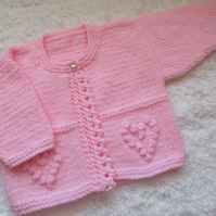 "16"" Hearts One Button Cardigan"