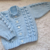 "16"" Round Neck Bobbles & Cable Cardigan"