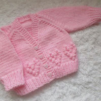 "14"" Newborn V Neck Hearts Cardigan"