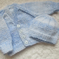 "14"" Baby Boys Blue Mix V Neck Cardigan & Beanie Set"