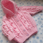 "Special Order for Kim G 16"" Pink Aran Jacket with Hood"