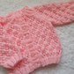 "16"" Pink Round Neck Lace Cardigan"