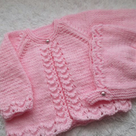 "16"" Lacey One Button Cardigan & Bonnet Set"