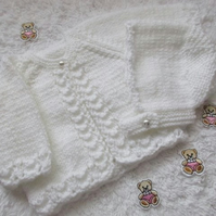 "14"" Newborn One Button Cardgan & Bonnet Set"