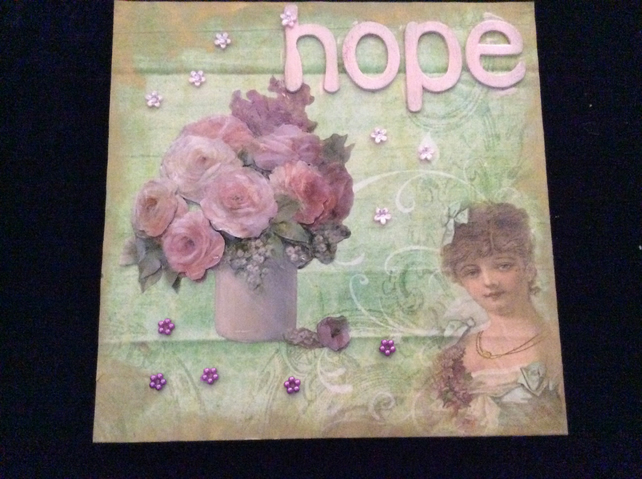 Hope and flowers with vintage lady