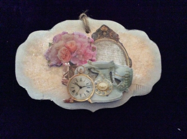 MDF plaque with clock, telephone, mirror and roses.