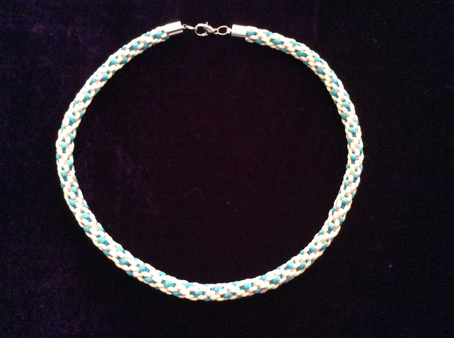 Pale Pink, Turquoise & White Kumihimo cord choker.