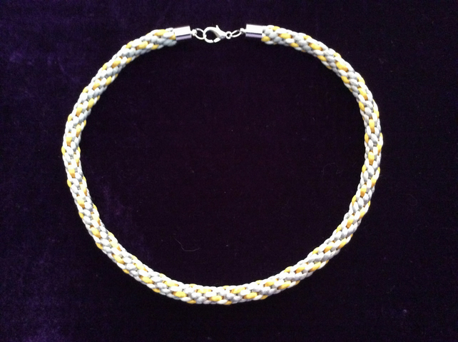 Silver, White & Gold Kumihimo cord choker.
