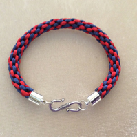 Navy & Red kumihimo cord bracelet.