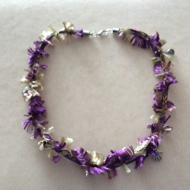 Purple and Gold Boho Choker with Silver Charms.