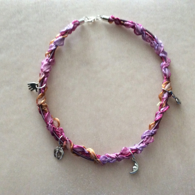 Pink, Lilac & Gold  Boho Choker with Silver Charms.