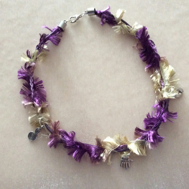 Gold & Purple Boho Choker with three Silver Charms.