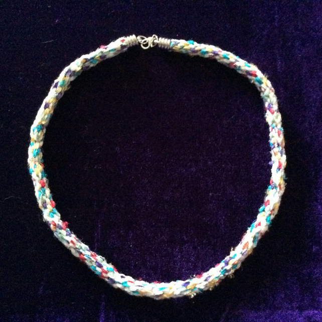 White & Multi Coloured Hand Made Kumihimo Choker.