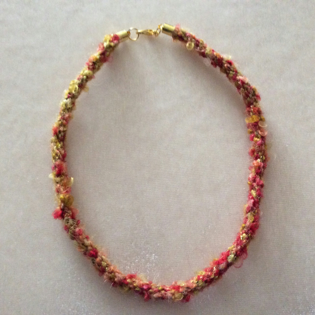 Red & Gold Kumihimo cord choker with rose gold coloured end caps.