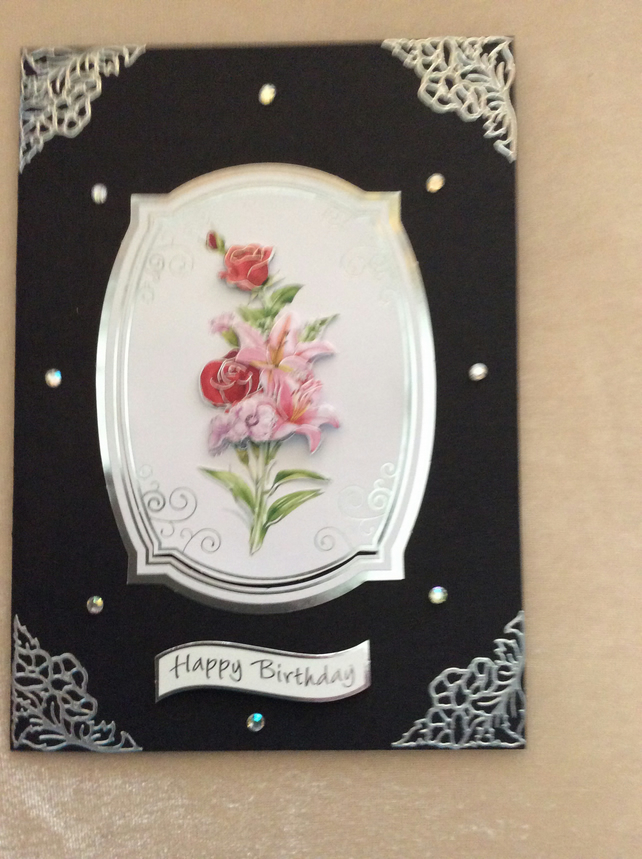 A5 Black Card with Pink Floral Bouquet.