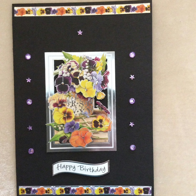 A5 Black Card With Mixed Pansy Bouquet.