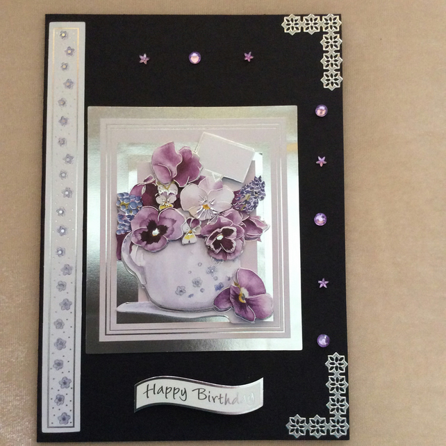 A5 Black Card With Vase of Lilac Flowers