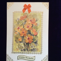 A5 Cream Hammered Card With Bouquet of Orange & Gold Pansies.