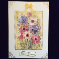 A5 Cream Hammered Card With a Bouquet of mixed Anemones.