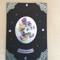 A5 Black Card With Bouquet of Pansies.