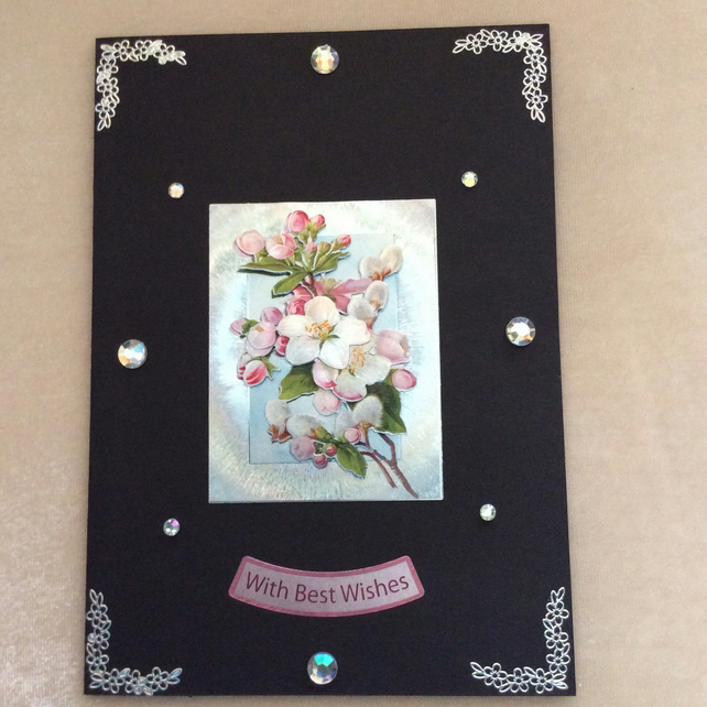 A5 Black Card with Bouquet of Pink Blossom.