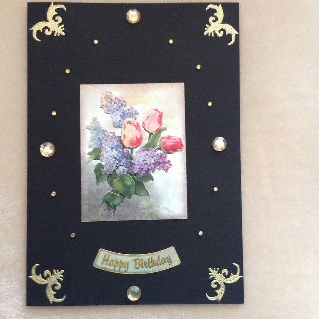 A5 Black Card With Roses & Lilac.