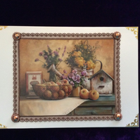 A5 Pearl Card With Decoupaged Still Life