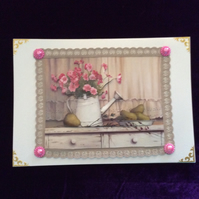 A5 Pearl Card With Flower Filled Watering Can On Vintage Shelf.