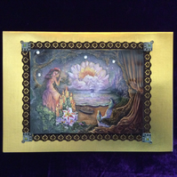 A5 Gold  Linen Card With Fantasy Pool Scene.