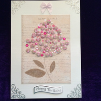 A5 Pearl Card With Gem Cluster Of Pink Flowers