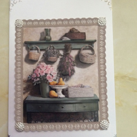 A5 Pearl Card With A Shelf of Flowers & Baskets.