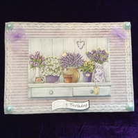 A5 Birthday Card With Shelf of Lilac Flowers.
