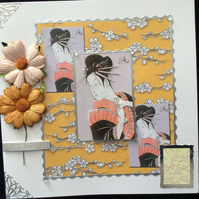 Square, White, Japanese Themed Card With Beige & Gold Paper Flowers