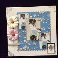 Square, White, Japanese Themed Card With Pink & White Flowers.