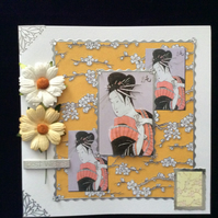 Square, White, Japanese Themed Card With Gold & White Flowers.