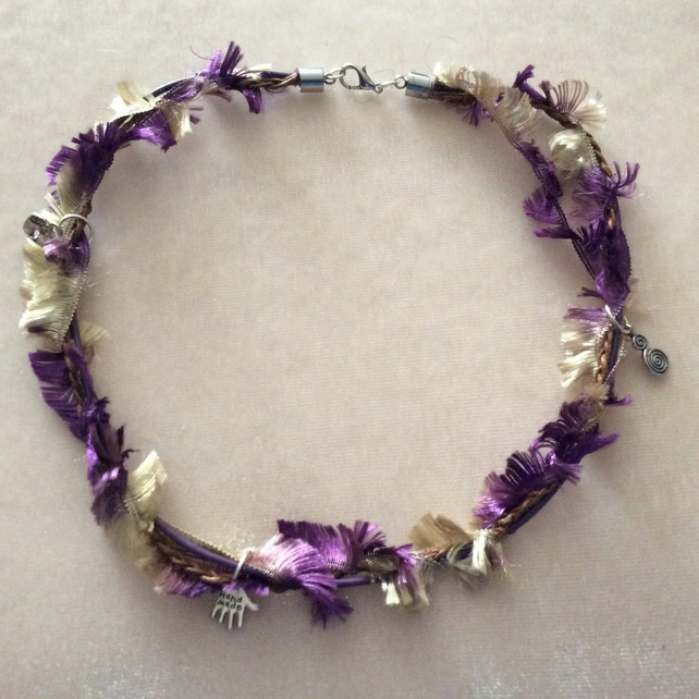 Purple & Gold Multi Stranded Boho Choker.