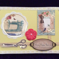 A5 Yellow Card With Dressmaking Items, Lace & Gems.