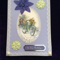 A5 Lilac Card With Bicycle Image & Flowers.