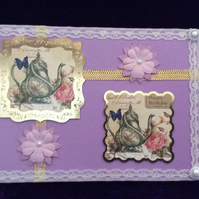 A5 Lilac Card With Images Of Coffe Pots & Flowers