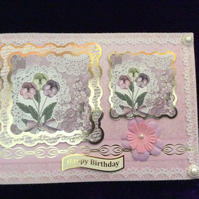 A5 Pink Card With Images Of Flowers.