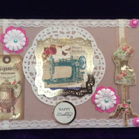 A5 Dusky Pink Card With Dressmaking Theme.