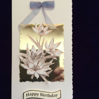 Cream Hammered Card With Cream & Bronze Flowers On Gold Mirri Card & Bow