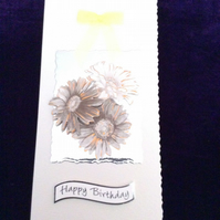 Cream Hammered Card With Bronze & Cream Flowers On Silver Mirri Card.